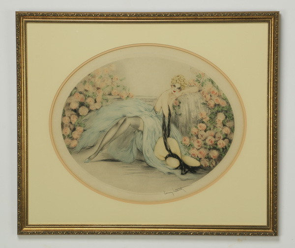 Louis Icart signed etching, titled 'La Belle Rose'