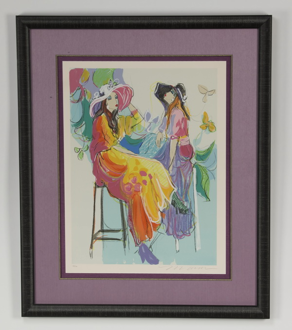 Isaac Maimon serigraph, 'Les Coquettes,' signed