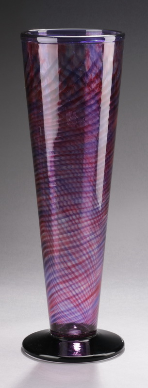 Purple and raspberry art glass vase, signed, 16