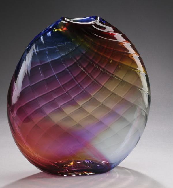 Multi-color art glass sculpture vase, signed, 13
