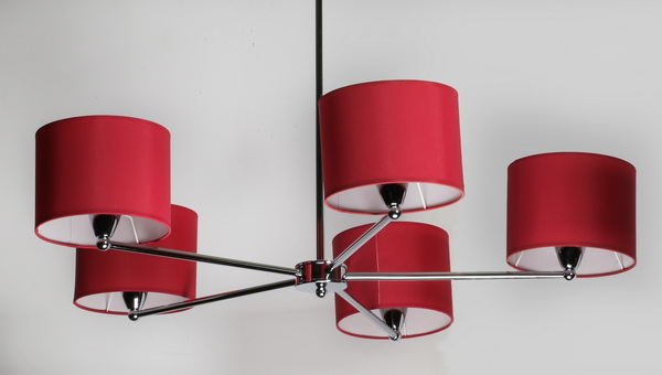 Contemporary chrome chandelier w/ red fabric shades