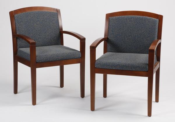 (2) Mahogany open armchairs