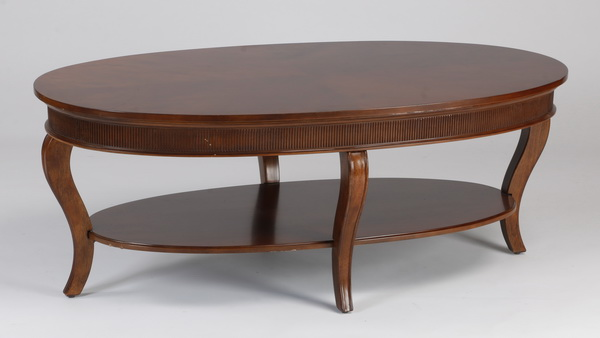 Oval coffee table with lower shelf, 50