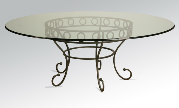 Contemporary table with wrought iron base