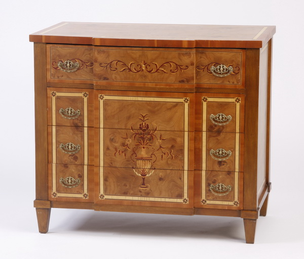 Marquetry inlaid burl wood chest of drawers