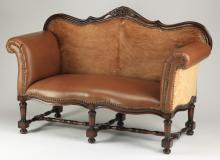 Contemporary hair on hide and leather loveseat