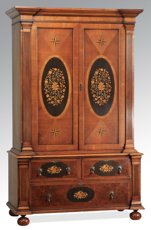 Marquetry inlaid cabinet, 74