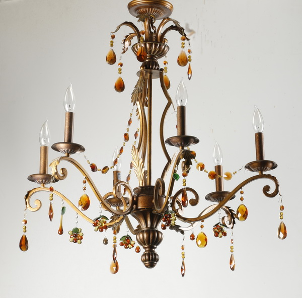 Patinated chandelier with amber glass prisms, 30