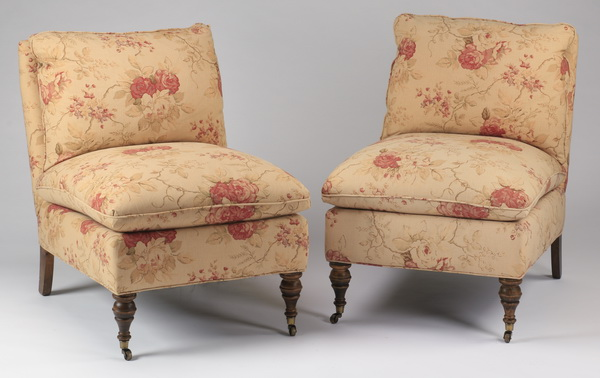 (2) Upholstered slipper chairs in English rose print
