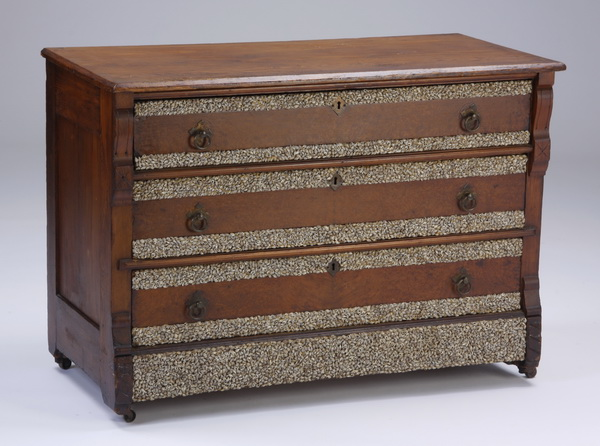 Shell decorated oak chest, 43