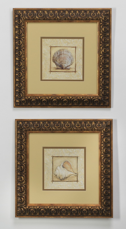 (2) Pair of contemporary prints of seashells