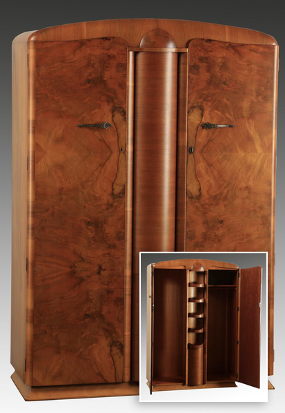 Art Deco burl wood wardrobe, 74