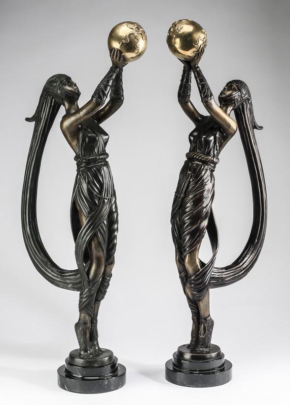 (2) Art Deco inspired bronze figures of dancers, 27