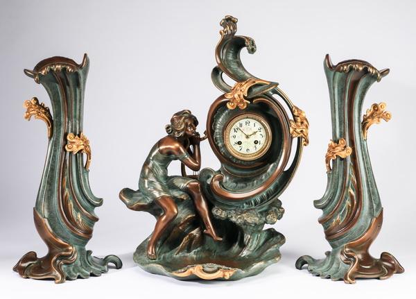 (3) Art Nouveau style clock garniture, 22