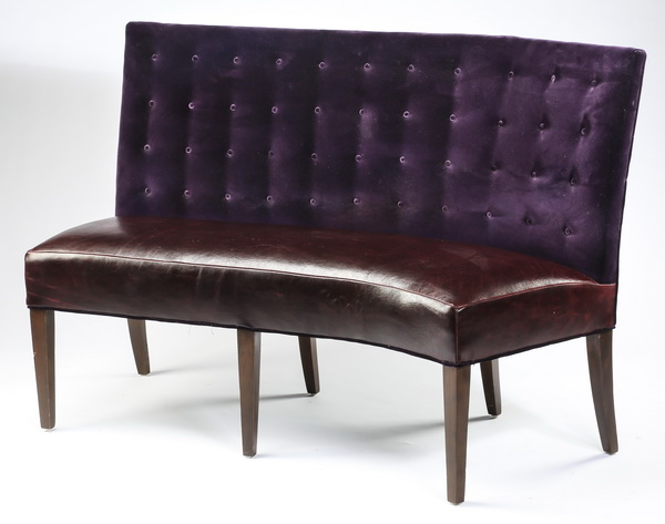 Custom made velvet and faux leather banquette