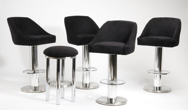 (5) Contemporary swivel bar stools