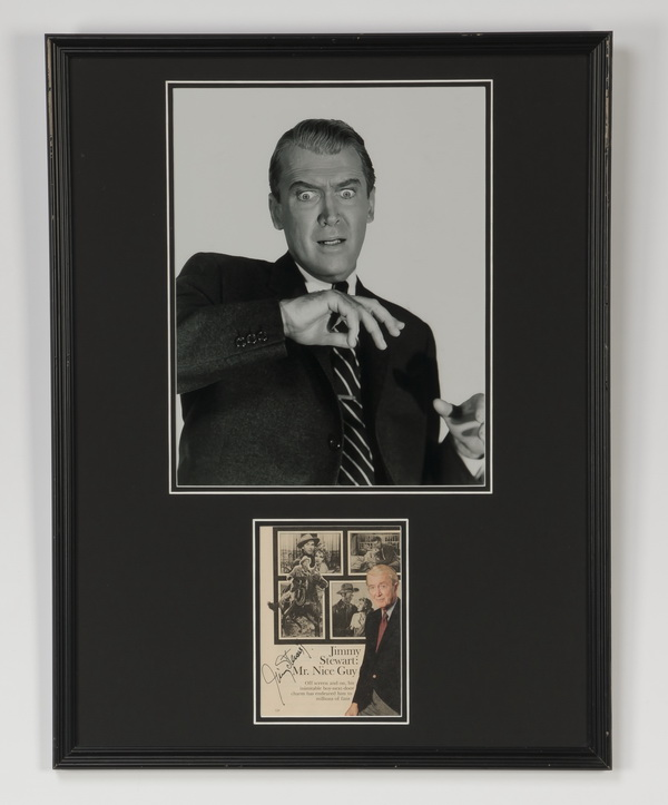 Photograph of actor Jimmy Stewart with autograph