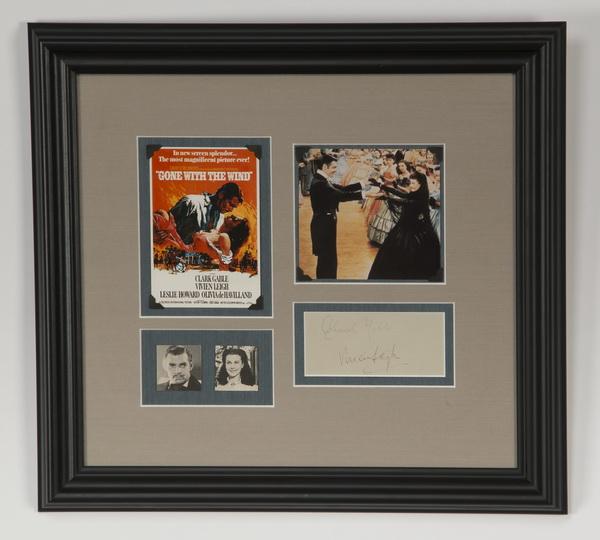 Vivien Leigh & Clark Gable autographs, framed