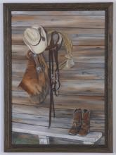 (2) Western themed signed oil on canvas works