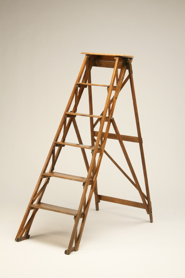 19th c. French Provincial walnut library ladder, 54
