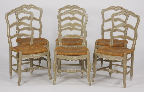 (6) French Provincial style paint decorated chairs