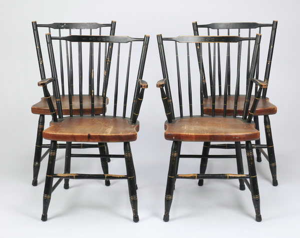 (4) Mid 20th c. Hitchcock chairs, 35