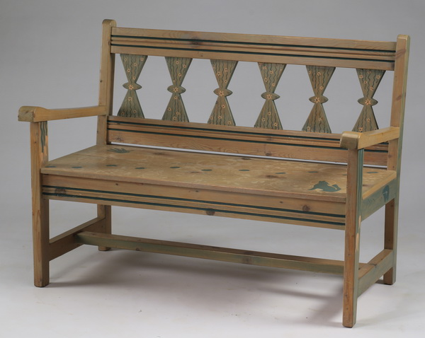 Southwest inspired painted garden bench, 49