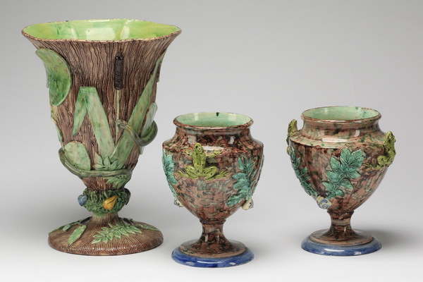(3) Palissy style vases w/ snake & frogs