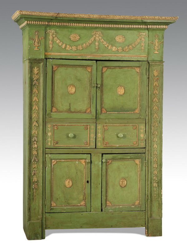 Neoclassical style paint decorated cupboard