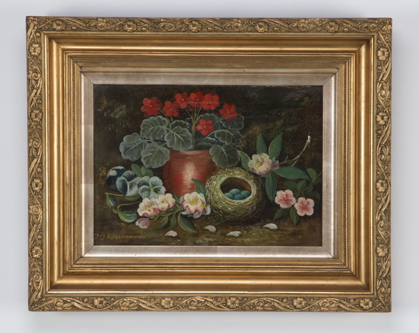 Early 20th c. O/c still life with bird's nest, signed