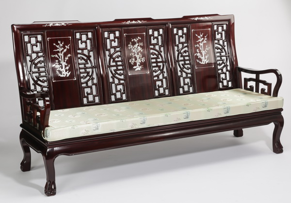 Chinese rosewood sofa with mother of pearl