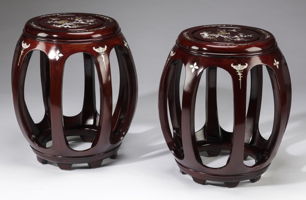 (2) Chinese garden stools with mother of pearl