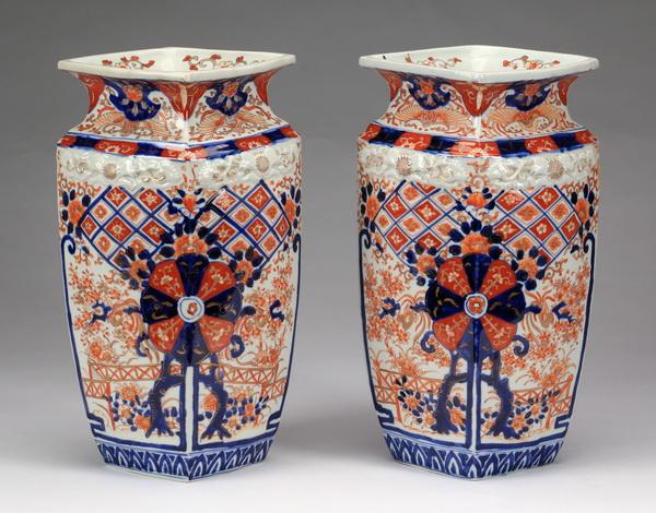 (2) 19th c. square Japanese Imari vases, 14