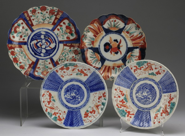 (4) Japanese Imari style plates 8.5
