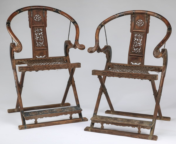(2) Chinese carved huanghuali folding chairs