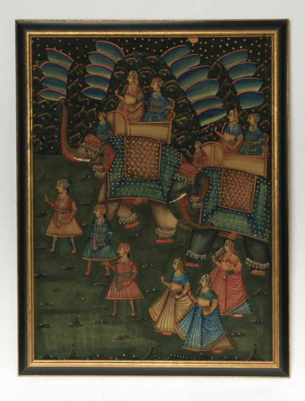 Painted cloth hanging of Indian procession, 45