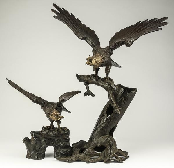 Japanese bronze & cast iron eagle sculpture, 28