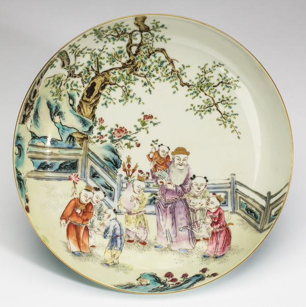 Chinese porcelain plate, with scholar and chiildren