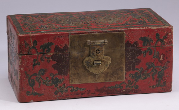Chinese parcel gilt red lacquer box, 11