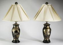 (2) Japanese mixed metal vases mounted as lamps, 12