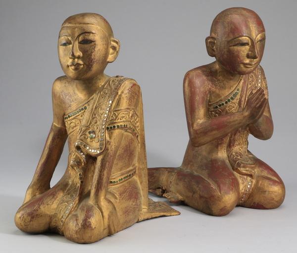 (2) Burmese gilt wood seated figures, 13