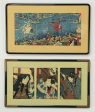(2) Japanese woodblock triptyches, framed, 37