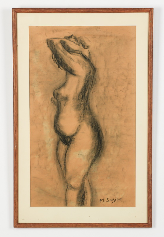 Moses Soyer signed, charcoal drawing of nude, 25