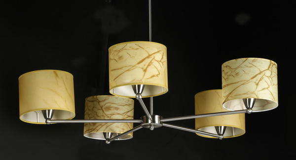 Contemporary chrome chandelier w/ parchment shades