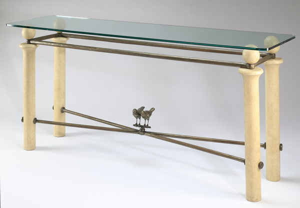 Contemporary glass top console table, 70