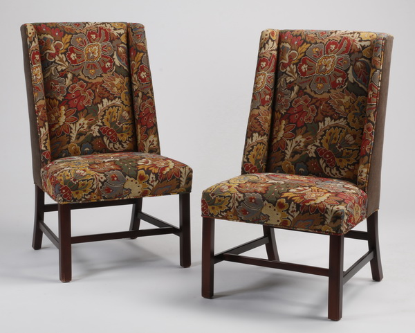 (2) Contemporary wingback side chairs, 43
