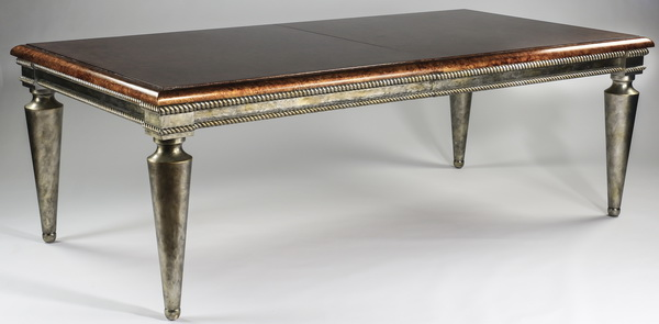 Silver gilt & faux burlwood dining table w/leaves
