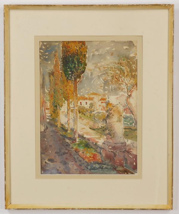 Fred Drowne signed W/c, Mediterranean garden