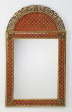 Marquetry inlaid wall mirror, 53