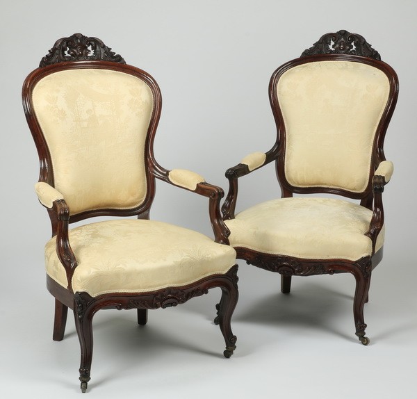 (2) Carved mahogany Victorian armchairs